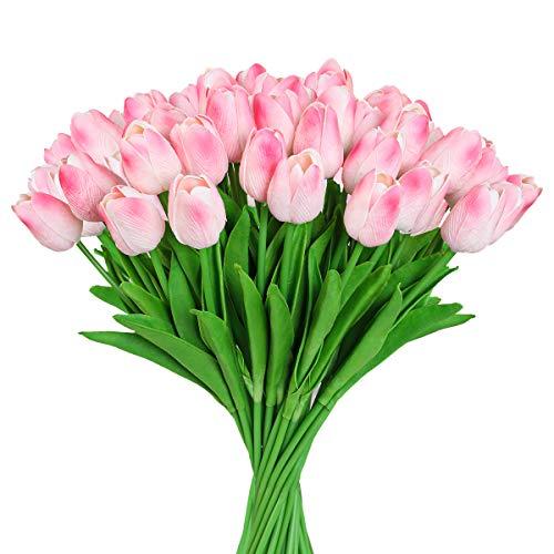 Hawesome 30 Stücke Kunstblumen Tulpen künstliche Blumen Seidenblumen Seidentulpe Tulpenbund Dekoration für Haus Wohnzimmer Büro Garten Hotel Restaurant Hochzeit Party Deko Blumenarrangements