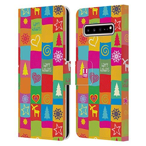 Head Case Designs Edredón Navidad del Hippie Carcasa de Cuero Tipo Libro Compatible con Samsung Galaxy S10 5G