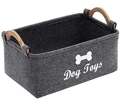 Geyecete Dog Toys Storage Bins - with Wooden Handle, Pet supplies storage Basket/Bin Kids Toy Chest Storage Trunk C705 (Grey)