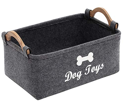 Geyecete Dog Toys Storage Bins - with Wooden Handle, Pet Supplies Storage Basket/Bin Kids Toy Chest Storage Trunk C705 (Grey)