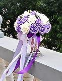 Mode Bouquet,fleurs artificielles violet et blanc bouquet de mariage soie chiffon pe mariage mariée tenant des fleurs