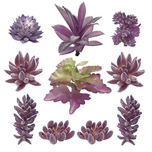 PietyDeko Suculentas Falsas, 10pcs Púrpura Grandes suculentas Artificiales y Ornamentos de Plantas de Cactus para la decoración de la Pared de Plantas Materiales de Bricolaje