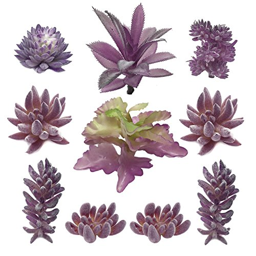 PietyDeko Suculentas Falsas, 10pcs Púrpura Grandes suculent