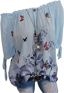 FRPE Women Summer Stylish Print Butterfly Casual Short Sleeve T-Shirt Top Blouse