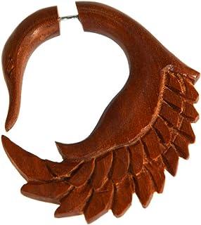 CHICNET Finto piercing orecchino a forma di cigno in legno di sauna, 1 mm, a spirale allungabile, tribale