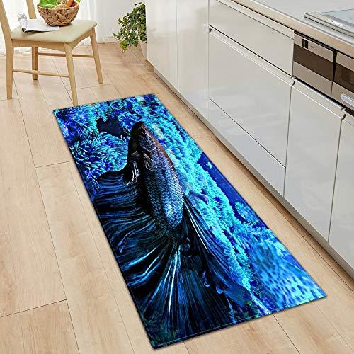 HLXX Alfombra de Pescado 3D Alfombra de Cocina Alfombra de Puerta Decoración de Piso de Dormitorio Alfombra de Sala de Estar Pasillo de baño Balcón Alfombra Antideslizante A1 50x160cm