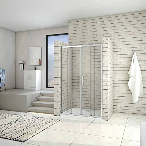 Puerta de ducha por 2 hojas fijas y 2 puertas corredor, cristal templado de 5mm 160x190cm