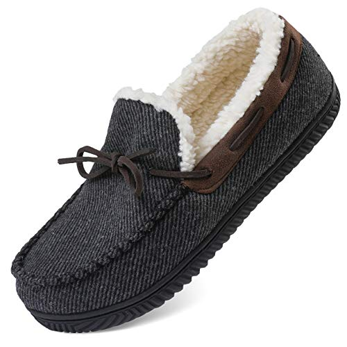 ULTRAIDEAS Men's Comfort Moccasin Slippers Memory Foam House Shoes with Anti-Skid Rubber Sole, Indoor/Outdoor (XX-Large, 13 US, Gray)