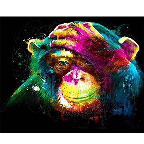 Diamond Painting Large Kids Diamond Painting Kits Rhinestone Embroidery Full Drill Painting Arts Craft,Perfect for Parent Child Activity and Home Wall Decor,Orangutan in Thought 11.8 x 15.8 inch