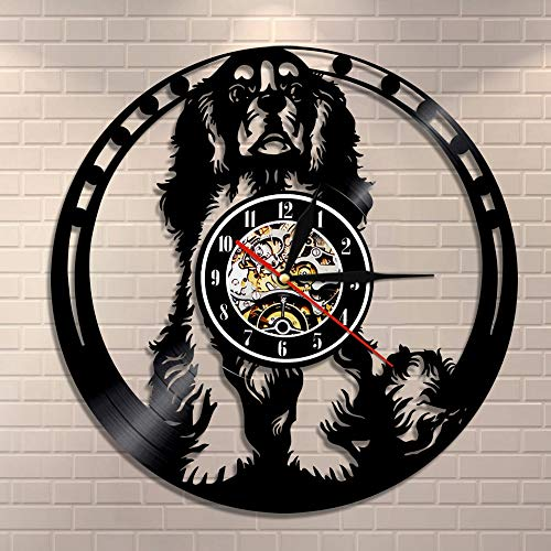 wtnhz LED Reloj de Pared de Vinilo Colorido Reloj de Pared para Perro Cavalier King Charles Spaniel, Arte de Pared Cavalier, Raza de Perro, Perro Pug, Reloj de Vinilo, Regalo para Amante de los PE