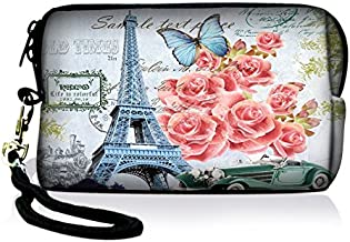 SpecialBag Eiffel Tower and Flowers Digital Camera Case Bag Pouch Coin Purse with Strap For Sony Samsung Nikon Canon Kodak FY-HDC-024