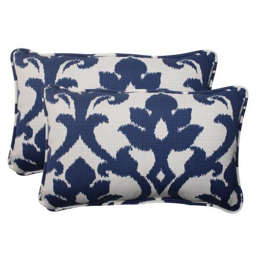 Pillow Perfect Outdoor/Indoor Basalto Navy Lumbar Pillows, 11.5' x 18.5', Blue, 2 Pack