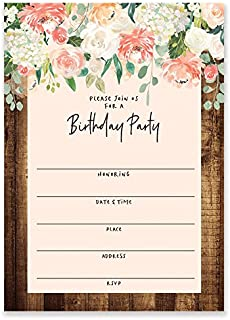 Rustic Flowers Birthday Invitations with Envelopes (Pack of 25) Large 5x7