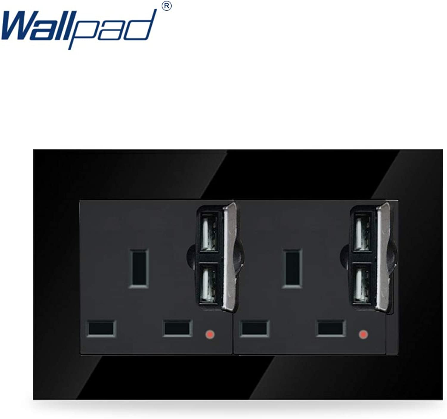 Wallpad Luxury Black Crystal Glass Frame 146  86mm Double 13A UK Socket with Four USB Wall Chargers