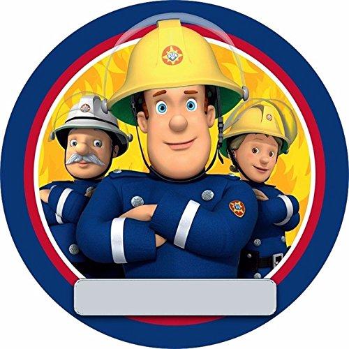 Dolce idea CIALDA in ostia SAM il Pompiere Personalizzabile forma rotonda diam. 20 cm, decorazione per torta