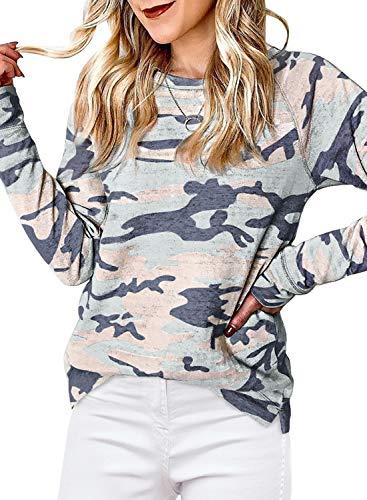 Lovezesent Womens Casual Camo Sweatshirts Fall Long Sleeve Crewneck Pullover Tops Lightweight T Shirts Y-Camo 1 Medium