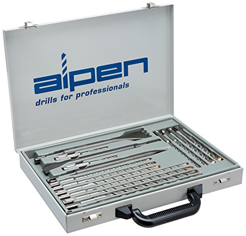 alpen 500016100 - F4 hammer drill set forte and chisels flat, pointed and wide (16 parts, SDS-plus, in metal case)