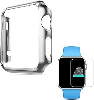 PINHEN コンパチブル Watch ケース保護フィルム付 スマートウォッチ カバー HOCO メッキ加工ケース弧状設計 脱着簡単対応 Watch Series 1 42MM (Series 1 Silver)