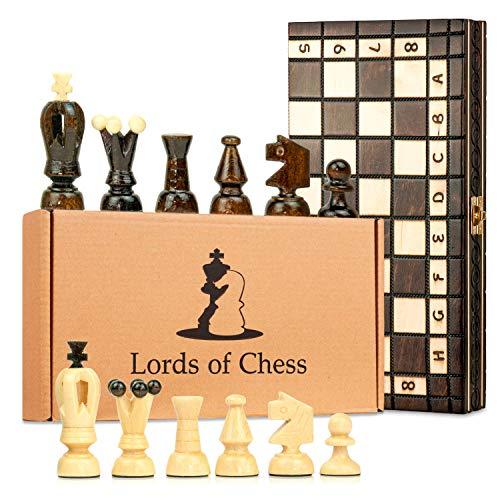 Amazinggirl Schachspiel Schach Schachbrett Holz hochwertig - Chess Board Set klappbar mit Schachfiguren groß für Kinder und Erwachsene 31 x 31 cm
