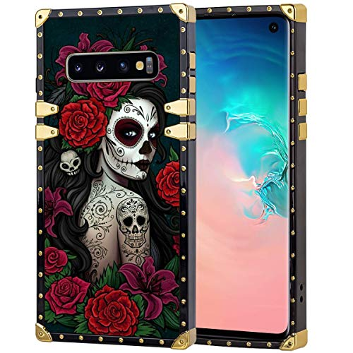 chenchen Sugar Skull Girl Square Phone Case Fit for Galaxy S10 (6.1 Inch)