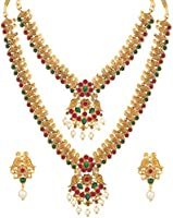 Shining Diva Fashion Latest Combo Design Pearl Necklace Set for Women Traditional Gold Plated Jewellery Set for Women...