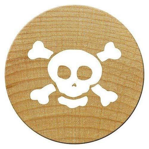 Woodies Totenkopf und gekreuzte Knochen Mini Stempel Holz, braun, 15mm