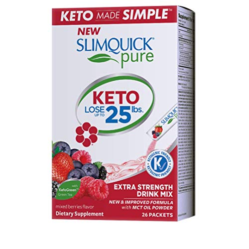 Slimquick Pure Extra Strength Mixed Berry Drink Mix, powerful dietary supplement- 26 count-Lose 3x the weight (Packaging may vary) from SLIMQUICK