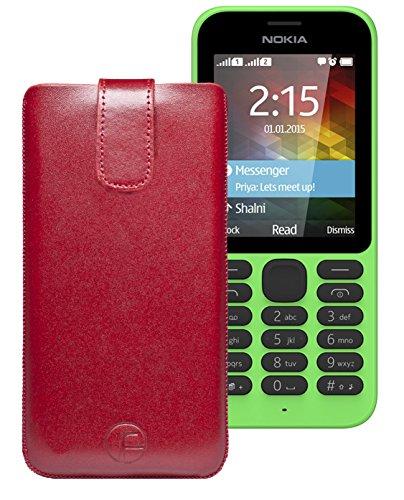 Original Favory Etui Tasche für / Nokia 215 Dual SIM / Leder Etui Handytasche Ledertasche Schutzhülle Hülle Hülle Lasche mit Rückzugfunktion* in Rot