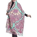 Elaine-Shop Imitar Cachemira Bufanda de invierno Pashmina Chal Wraps Manta Bufandas Envoltura elegante para mujeres Arreglo floral marroquí enrejado Rosa