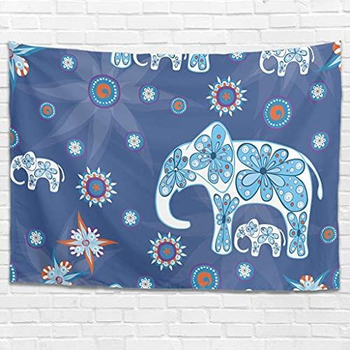 Tapiz para colgar en la pared con diseño de elefantes, diseño de flores de elefante, para colgar en la pared, para dormitorio, sala de estar como toalla de playa, colcha blanca de 100 x 150 cm