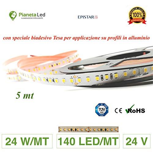ROTOLO 5 METRI STRISCIA 700 LED 2835 SMD 24 W/M LUCE A SCELTA 5 MT 24 V DC CON BIADESIVO 3M MOD. PREMIUM (4000 k luce naturale (neutral white))