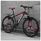 Unbekannt Mountain Bikes, 24 Zoll-Männer Frauen Carbon Steel Fahrrad, All Terrain Mountain Bike mit Doppelscheibenbremse,Black red,21Speed