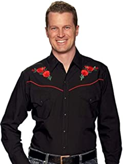 Retro Red Rose Embroidery X-Large Black