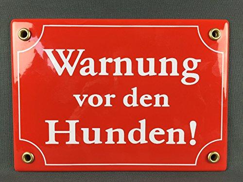 BBV Wetterfestes Emaille Schild Warnung vor den Hunden 17x12 cm wetterfest und lichtecht Emailleschild