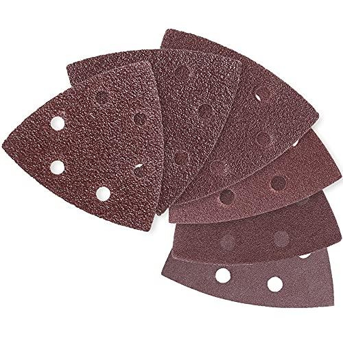 YSSNH 120 Piezas de Papel de Lija Triangular 6 Agujeros Almohadillas de Lijado 93mmx93mmx93mm Gancho y Bucle Surtidos 40/60/80/120/180/240 Granos