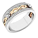 Dazzlingrock Collection - Anillo de boda de oro rosa con diamantes blancos de...