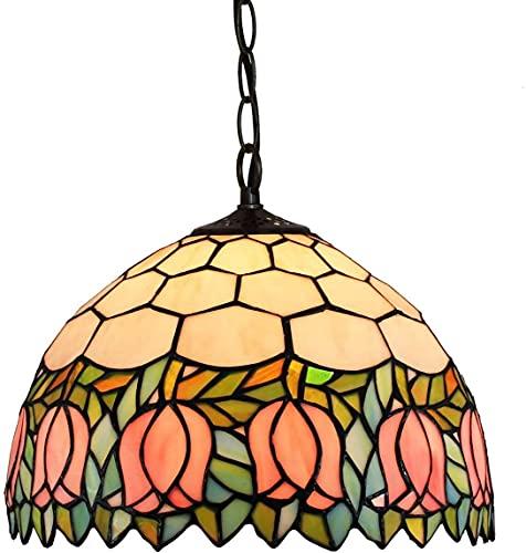 Lámpara de techo, luz de baño Luz de techo, vidrieras Colgante Luz de iluminación Luz de techo Tiffany Colgante Luz, Idílico Tulip Luces Colgantes de 11.8 pulgadas Conexión de luz de cristal para la o