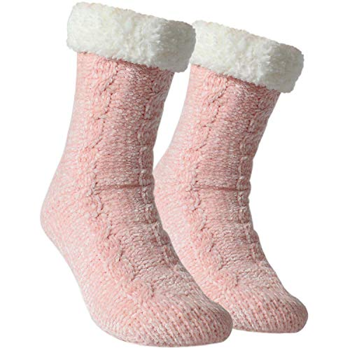 Tacobear Zapatillas Casa Mujer Calcetines Antideslizantes Cálido Calcetines Invierno con suela Calcetines Zapatilla Gruesos Lana Calcetines de Piso para Mujer Hombres (Rosado, sin pompom)