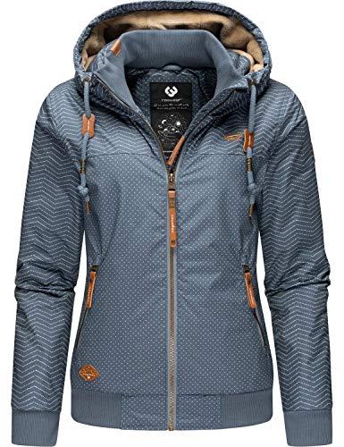 Ragwear Damen Winterjacke Outdoorjacke mit Kapuze Nuggie Blue Zig Zag Gr. S