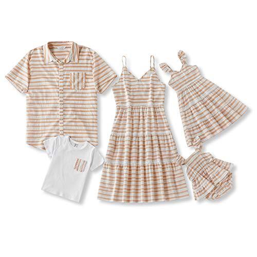 IFFEI Familien-Outfits Sommer Baumwolle Kleidung Mommy and Me Spaghetti-Träger Kniekleid Streifen Vater Hemd Sohn Jungen T-Shirt Gr. 6-9 Monate, mehrfarbig