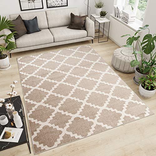 Tapiso Maroko Alfombra de Salón Sala Comedor Diseño Moderno Beige Crema Marroquí Geométrico Tréboles Fina 120 x 170 cm
