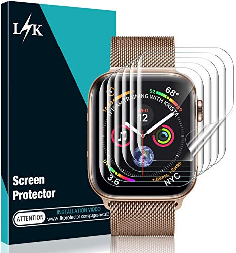 [6 Pack] L K Screen Protector for Apple Watch Series 5/4 40mm, [Full Coverage] [Self Healing] Bubble Free for iWatch 5 HD Clear Flexible TPU Film
