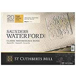 High White Saunders Waterford Block 300gsm 310 x 410mm (12