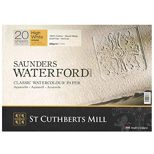 High White Saunders Waterford Block 300gsm 310 x 410mm (12' x 16') 20 Sheets Rough