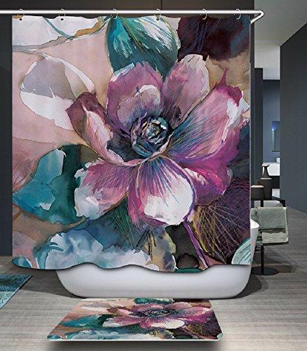 Beddingleer Duschvorhang Anti-Schimmel 180x200 cm Impression Lotus Bad Duschvorhang textil Wasserdicht und Mildewproof aus 100% Polyester
