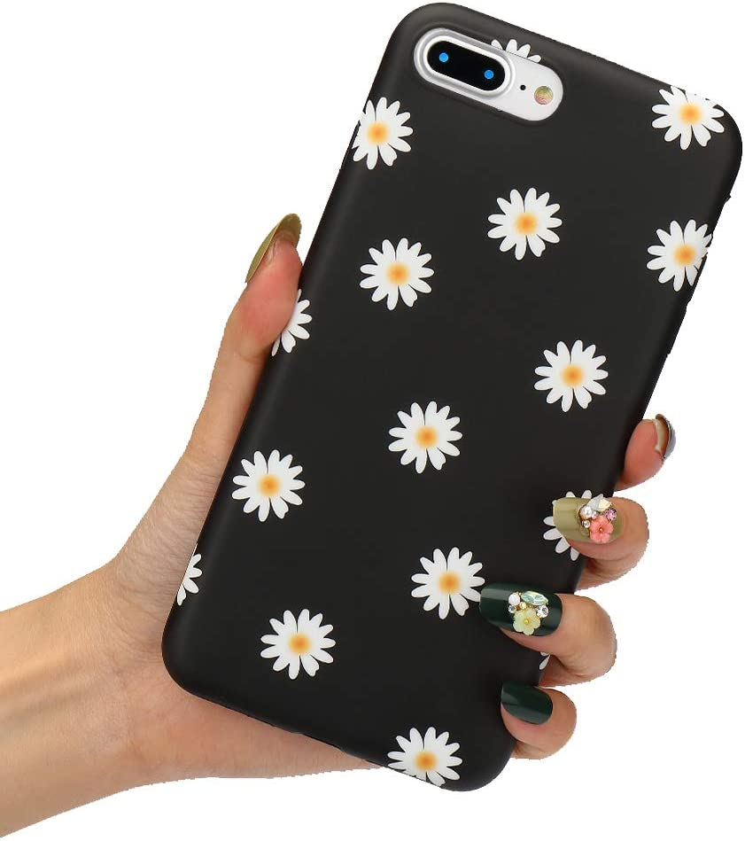 LCHULLE Floral Case for iPhone SE 2020 iPhone 7 iPhone 8 Cute Daisy Flower Case Girls Women Chrysanthemum Design Flexible Soft TPU Rubber Anti-Scratch Protective Case Cover for iPhone 7/8/SE2020,Black