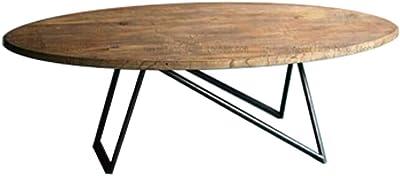 Mesa de Centro de Madera Moderna, Mesa de cóctel Natural para Sala de Estar, Mesa Ovalada rústica Natural de Patas de Metal, 100 / 120cm: Amazon.es: Hogar