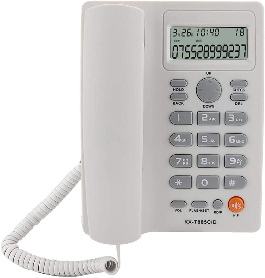 Corded Phone with Caller ID/Call Waiting, Desktop Landline Phone Hands-Free Calling for Home Office Hotel (White)