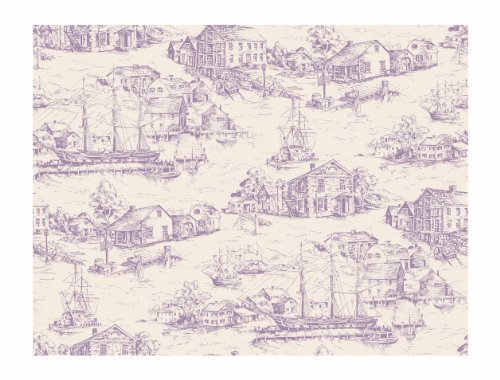 York Wallcoverings AT4135 Ashford Toiles Scenic Nautical Toile Wallpaper, Dark Blue/Vanilla
