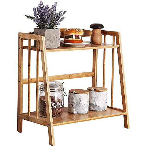 Z&XL Tabletop Natural Bamboo Plant Stand, 2 Tier Desktop Shelf Rack for Indoor Outdoor Home Patio Lawn Garden Balcony Organizer Planter Holder